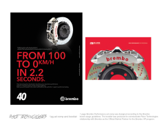 Left: 1 page ad (right page biased), was a designed based upon the Brembo style guide. Right: front cover the RT Brembo Performance and Racing program overview: this was collaboratively produced with several members of the company.